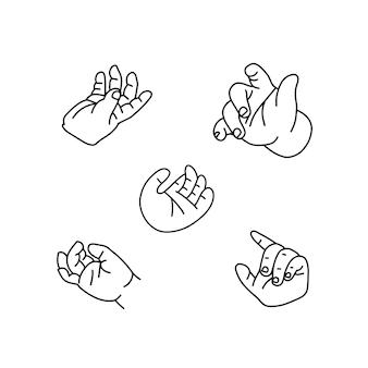 아기 손은 어린이의 최소한의 선형 벡터 그림 검정과 흰색의 작은 손바닥을 설정합니다.
