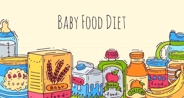 아기 건강 식품 벡터 일러스트 레이 션. 아기를위한 첫 식사. 아기 병, 퓌레 항아리, sippy 컵 및 죽 상자. 어린이 건강 영양.