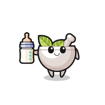 Baby herbal bowl cartoon character with milk bottle , cute style design for t shirt, sticker, logo element