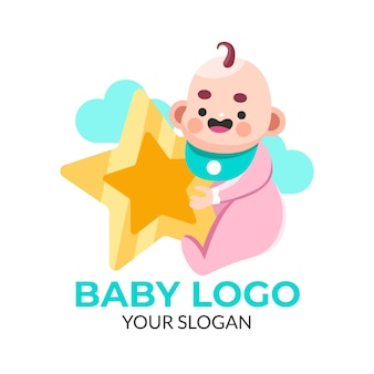 Baby holding a night star logo template