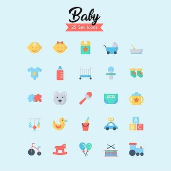 Baby icon set flat style