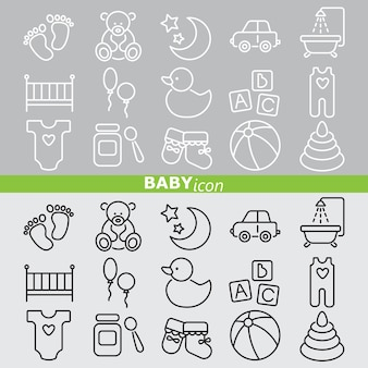 Baby icons. linear set.