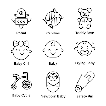 Baby icons pack set