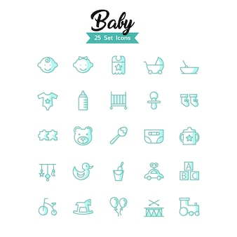 Baby icons vector modern style