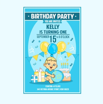 Baby infant toddler boy birthday party invitation card