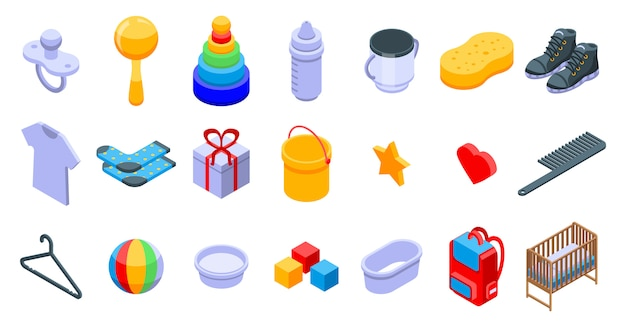 Baby items icons set