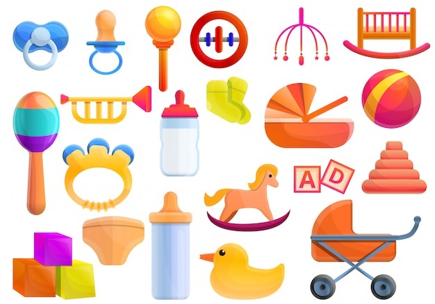 Baby items set, cartoon style