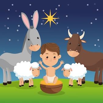 夜の背景に農場の動物のアイコンと赤ちゃんのイエス