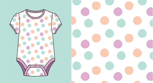 도트 패턴으로 아기 죄수 복.