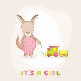 Baby kangaroo with a train - baby shower or arrival card