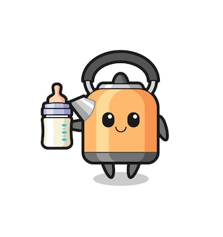 Baby kettle cartoon character with milk bottle , cute style design for t shirt, sticker, logo element