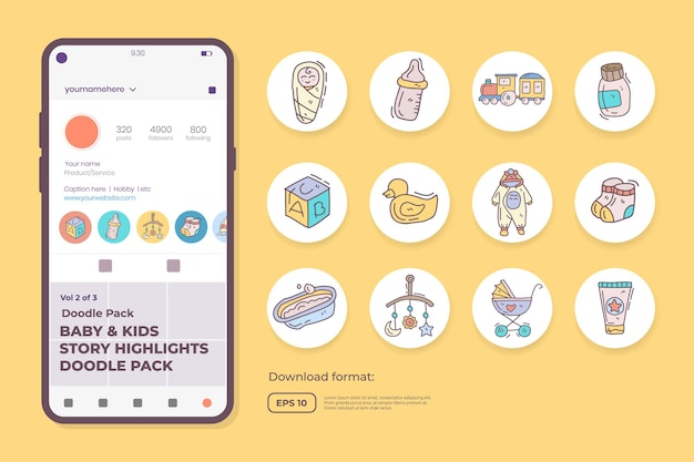 Baby and kids care doodle icons for newborn with toys, food, accessories. sign symbol set for social media highlight