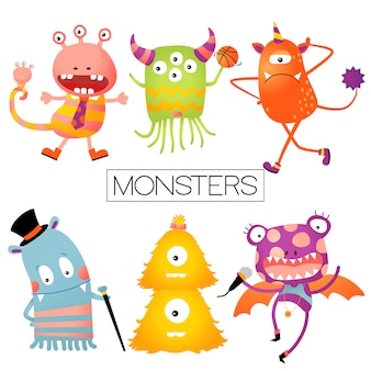 Baby or kids design elements, colorful happy monster set.