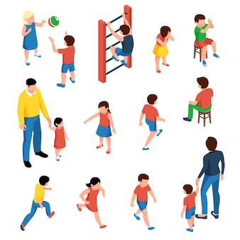 Baby and kids isometric icons set with preschool children playing on playground  isolated