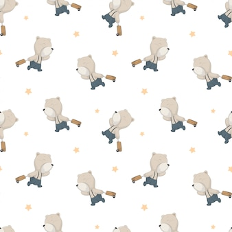Baby kids pattern with cute bear concept