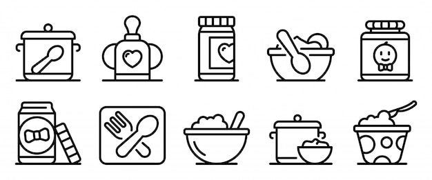 Baby kitchen icons set, outline style