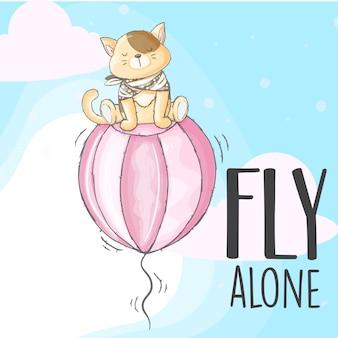 Baby kitten flying on a balloon hand drawn