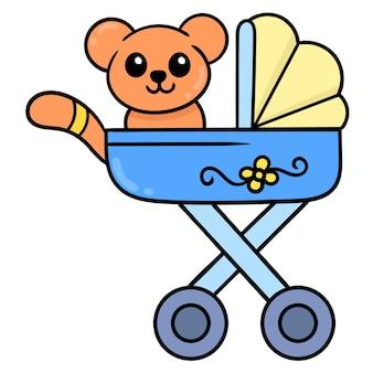 Детские коала в корзине, векторные иллюстрации искусство. каракули изображение значка каваи.