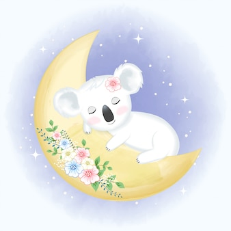 Baby коала спит на луне рисованной иллюстрации