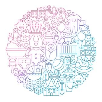 ベビーラインアイコンサークルデザイン。子供と子供のおもちゃのアウトラインオブジェクトのベクトルイラスト。