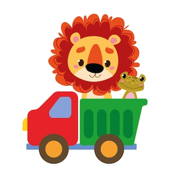 Baby lion cub and frog are riding in the car. vector toy cartoon truck. auto kids funny and cute logo. transportation. boyish print - for clothes, cards, banners. comic clipart drive.