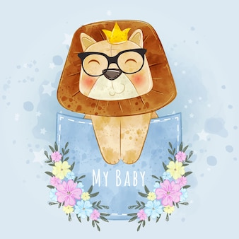 Baby lion king cute with glasses on the pocket watercolor