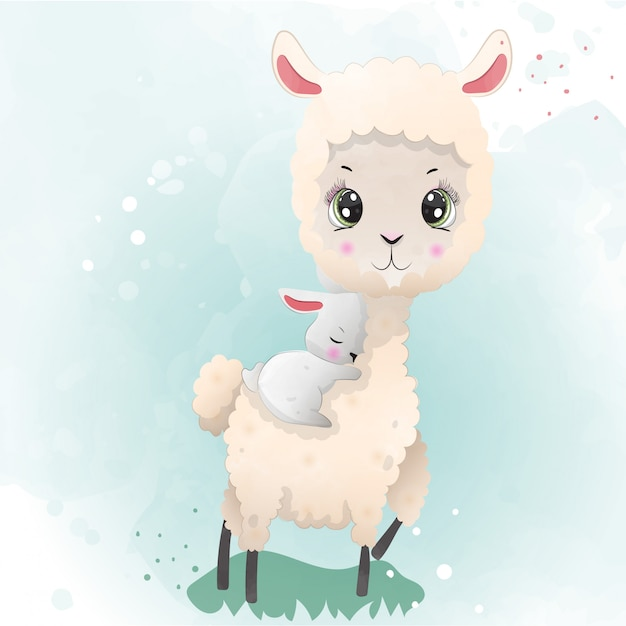 A baby llama cute character painted with watercolors.