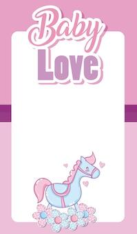 Baby love card witn blank frame and cute cartoons
