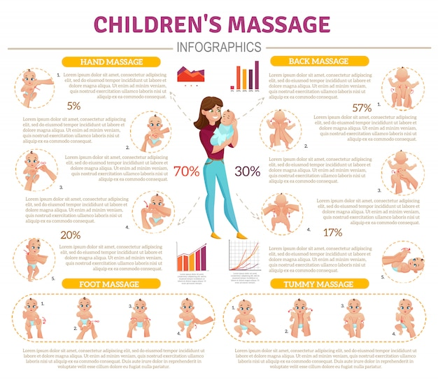 Baby massage infographic set