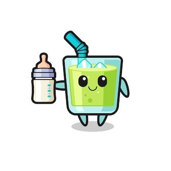 우유병이 있는 아기 멜론 주스 만화 캐릭터, 티셔츠, 스티커, 로고 요소를 위한 귀여운 스타일 디자인