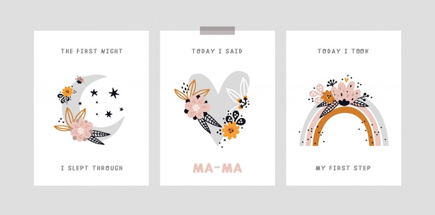 아기 이정표 카드. 아기의 달 기념일 카드. 특별한 순간을 모두 포착하는 베이비 샤워 프린트