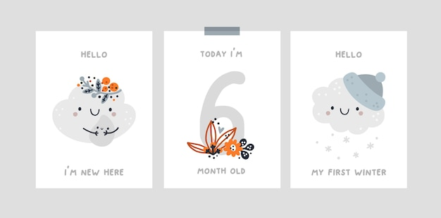 Baby milestone card with cute cloud for newborn girl or boy. capturing all the special moments.
