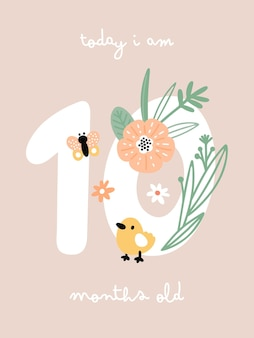 Baby milestone card with flowers and numbers for newborn girl or boy Premium Vector