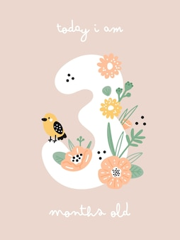 Baby milestone card with flowers and numbers for newborn girl or boy