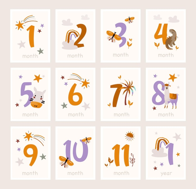 Baby milestone cards with cute animals and numbers