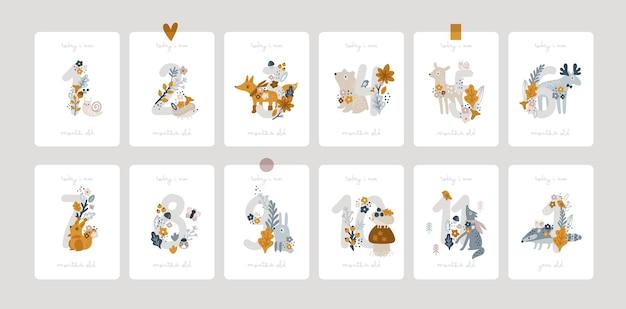 신생아 소녀 또는 소년 베이비 샤워 인쇄를 위한 꽃과 숫자가 있는 아기 이정표 카드