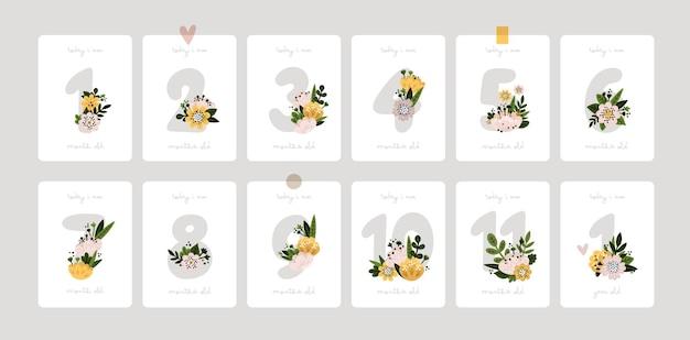 新生児の女の子の男の子のベビーシャワーのプリントのための花と花の数字と赤ちゃんのマイルストーンカード