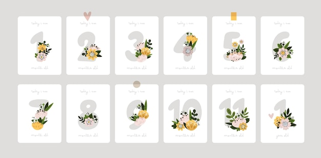 Baby milestone cards with flowers and numbers with flowers for newborn girl boy baby shower print