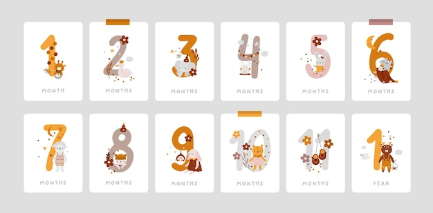 Baby milestone cards with numbers and toys in boho style baby first year baby boy or girl shower gifts