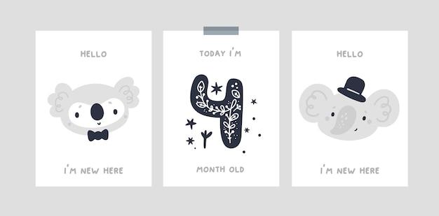 신생아 소녀 또는 소년을위한 귀여운 동물 캐릭터가있는 아기 이정표 단계 카드. 베이비 샤워 프린트