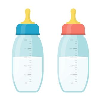 牛乳瓶セットイラスト Premiumベクター