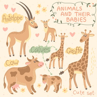 Baby and mommy animal set. antelope, giraffe, cow.