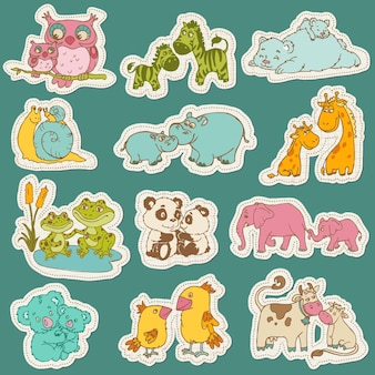 Baby and mommy animal set on sticker on paper