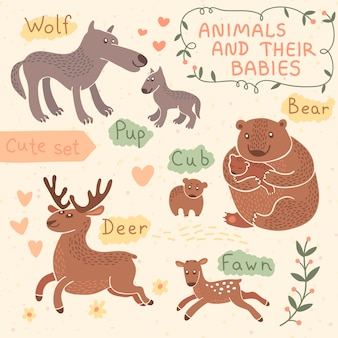 Baby and mommy animal set. wolf, bear, deer.