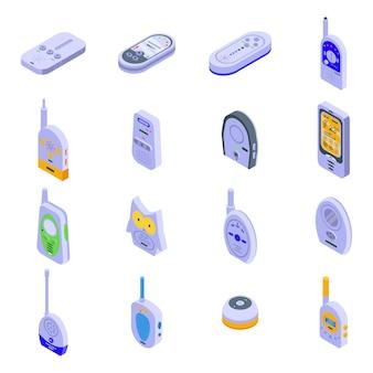 赤ちゃんモニターのアイコンを設定します。ホワイトスペースに分離されたwebデザインの赤ちゃんモニターベクトルアイコンの等尺性セット