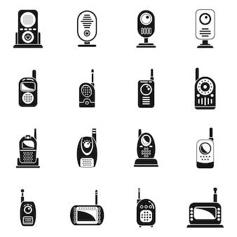Набор иконок радионяни простой вектор. кнопочное общение. мобильное оборудование