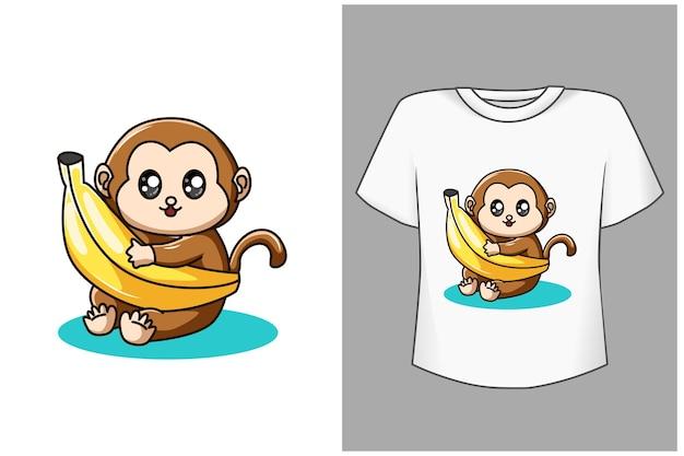 Baby monkey and banana cartoon illustration