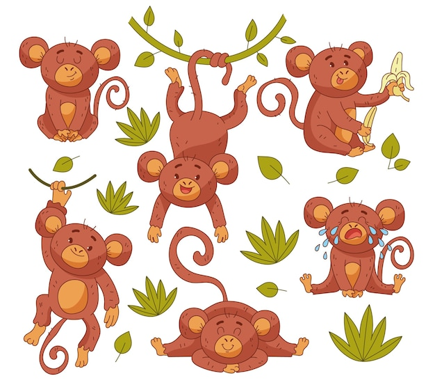 Baby monkey child character in different position isolated set
