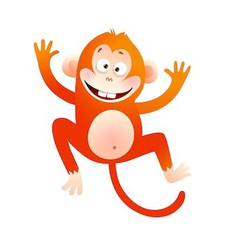Baby monkey счастливая мультипликационная иллюстрация персонажа. животное для детей милый примат векторной графики.