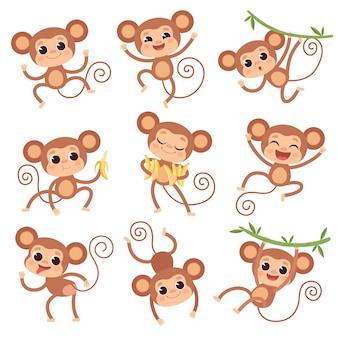 Детские обезьяны. дикие мультяшные животные играют и едят банановых персонажей обезьян